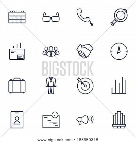 Set Of 16 Trade Outline Icons Set.Collection Of Calendar, Mail, Handset Elements.