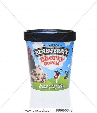 IRVINE CA - MAY 29 2017: Cherry Garcia Ice Cream. Ben and Jerrys tribute flavor to the rock legend Jerry Garcia of the Grateful Dead.