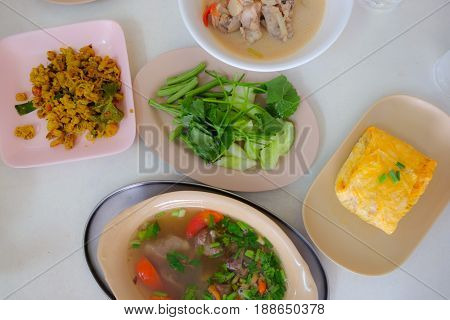 Traditional lunch cuisine food set of southern thai style top view