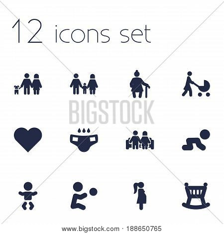 Set Of 12 Relatives Icons Set.Collection Of Relatives, Creep Baby, Nappy And Other Elements.