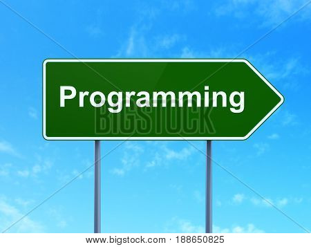 Software concept: Programming on green road highway sign, clear blue sky background, 3D rendering