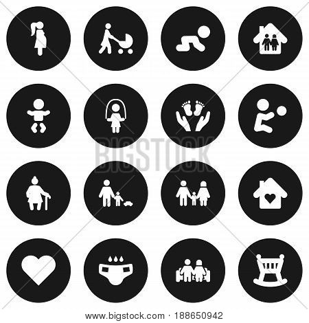 Set Of 16 Family Icons Set.Collection Of Nappy, Kid, Cot And Other Elements.