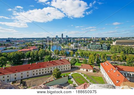 Old Arsenal Backyard And Financial District With Skyscrapers Of Vilnius