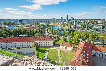 Old Arsenal Backyard And Financial District With Skyscrapers In Vilnius