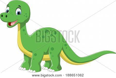 Vector illustration of cute dinosaur cartoon isolated on white background