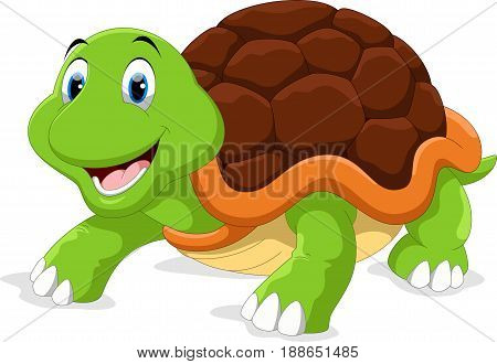 Vector illustration of cute turtle cartoon jumping isolated on white background