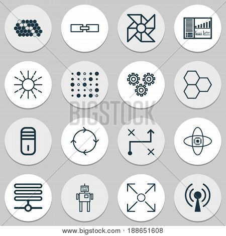 Machine Learning Icons Set. Collection Of Solution, Controlling Board, Cyborg And Other Elements. Also Includes Symbols Such As Base, Panel, Processor.