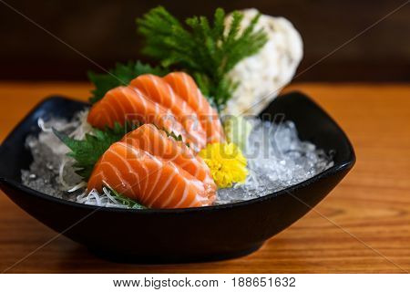 Fresh Salmon Sashimi On Wooden Table