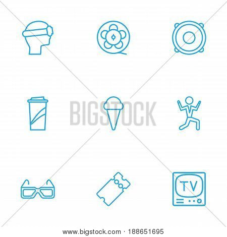 Set Of 9 Pleasure Outline Icons Set.Collection Of 3D Glasses, Ice Cream, Tv Set And Other Elements.