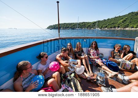 Young Girls Having Party In Boat At Adriatic Sea
