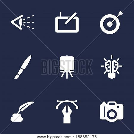 Set Of 9 Creative Icons Set.Collection Of Bulb , Stand , Arrow Elements.
