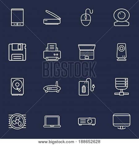 Set Of 16 Computer Outline Icons Set.Collection Of Cooler, Web Cam, Printer And Other Elements.
