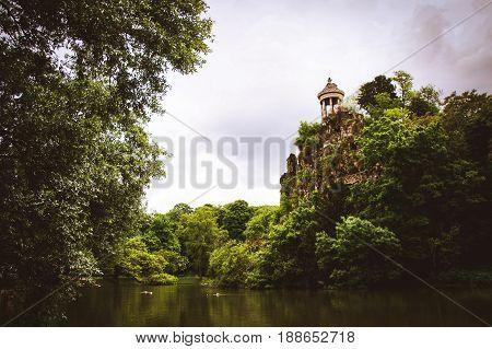 Temple de la Sibylle in the Parc des Buttes Chaumont in Paris, France.