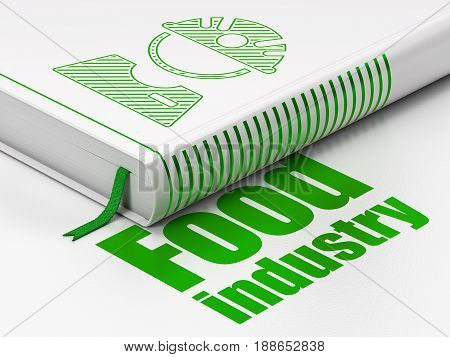 Manufacuring concept: closed book with Green Factory Worker icon and text Food Industry on floor, white background, 3D rendering