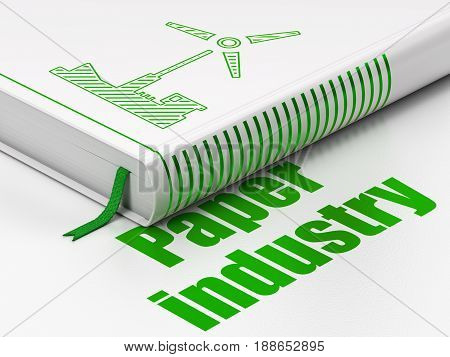 Manufacuring concept: closed book with Green Windmill icon and text Paper Industry on floor, white background, 3D rendering