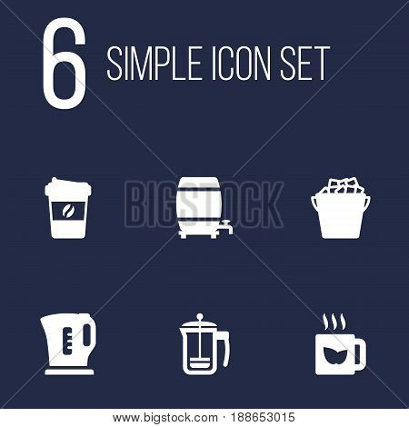 Set Of 6 Drinks Icons Set.Collection Of Cask, Espresso, Electric Teapot And Other Elements.