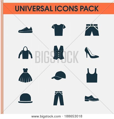 Clothes Icons Set. Collection Of Panama, Pants, Heel Footwear And Other Elements. Also Includes Symbols Such As Singlet, Sneakers, Shoe.