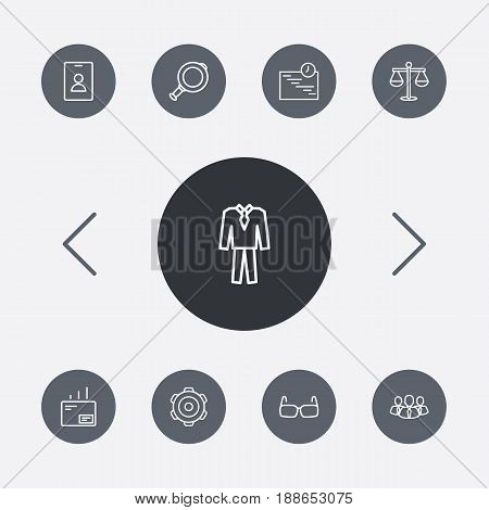 Set Of 9 Trade Outline Icons Set.Collection Of Glasses, Suit, Gear And Other Elements.