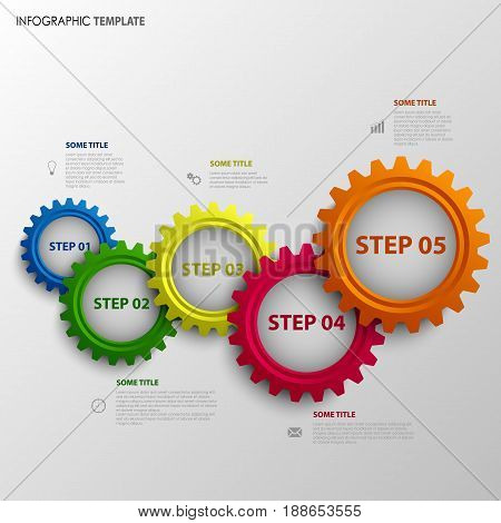 Info graphic with abstract colored design gears template vector eps 10