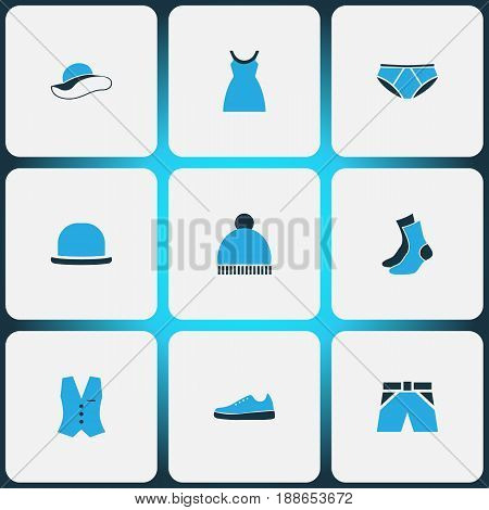 Clothes Colorful Icons Set. Collection Of Beanie, Socks, Shorts And Other Elements. Also Includes Symbols Such As Woman, Panties, Hat.