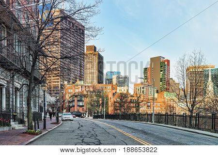 Beacon Hill Neighborhood In Downtown Boston Ma
