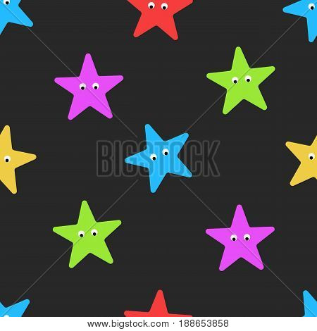 Cartoon starfish seamless pattern on dark summer background. Colorful star shape with eyes sea ornanent for wrapping or children cloth mockup