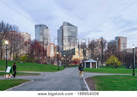 Boston Common Public Park And People In Downtown Boston Ma