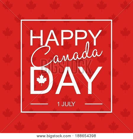 Happy 1Th Of July Canada Day Card Or Background With Maple Leaf.