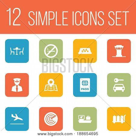 Set Of 12 Aircraft Icons Set.Collection Of Luggage Check, Aviator, Location And Other Elements.