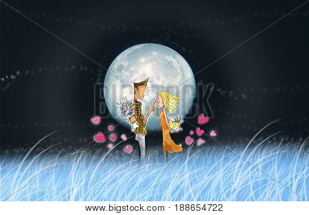 The lover in full moon night romantic and nice shot cartoon pencil sketch The moon and blue sky are my photo.