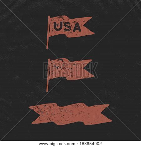 Hand drawn vintage flags collection. Retro roughen style. USA sign and blank pennant and ribbon. Easy to change color. Stock vector illustration isolated on dark scratched background.