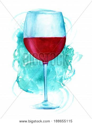 A watercolor drawing of a glass of red wine, hand painted in retro style, on a vibrant teal brush stroke texture, with a place for text