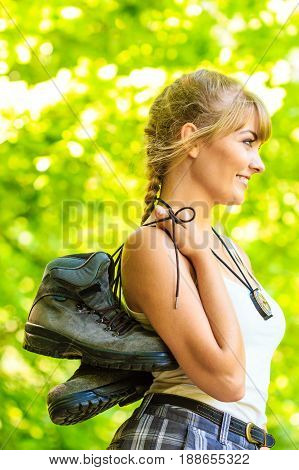 Hiker Young Woman In Nature Preparing To Hike