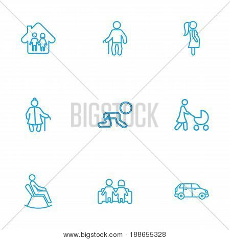 Set Of 9 People Outline Icons Set.Collection Of Crawling Kid, Grangmother, Pregnant Woman And Other Elements.
