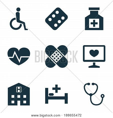 Drug Icons Set. Collection Of Handicapped, Remedy, Tent Elements. Also Includes Symbols Such As Medication, Help, Care.
