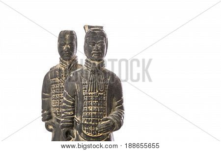 Replicas of two terra cotta soldiers over white background poster