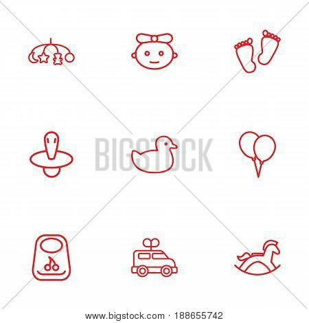 Set Of 9 Child Outline Icons Set.Collection Of Rubber, Clockwork Car, Rocking Horse And Other Elements.