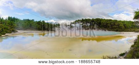 Panoramic image of Artist's Palette Pool at Wai-O-Tapu geothermal area Rotorua North Island of New Zealand