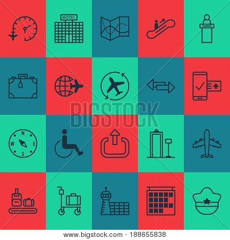 Travel Icons Set. Collection Of Resort Development, Registration Service, Locate And Other Elements. Also Includes Symbols Such As Locate, Scanner, Mobile.