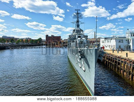 Uss Cassin Young Ship Moored In Boston