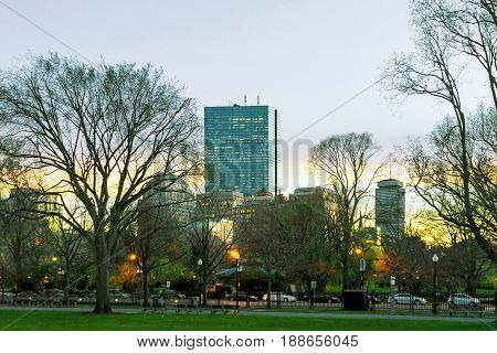 Sunset In Boston Common Public Park In Downtown Boston Ma