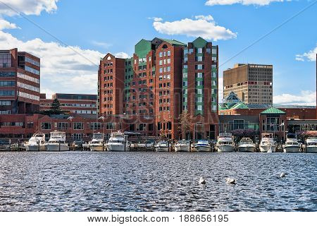 Pier 6 With Sail Boats In Charles River Boston Ma
