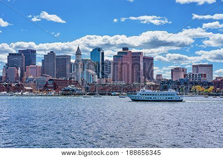Floating Boat With The Skyline Of Boston Ma