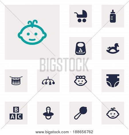 Set Of 12 Kid Icons Set.Collection Of Equine, Nappy, Girl And Other Elements.