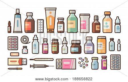 Pharmacy, medication, bottles, pills, capsules set icons. Drugstore, medicine, hospital concept. Vector illustration in flat style isolated on white background