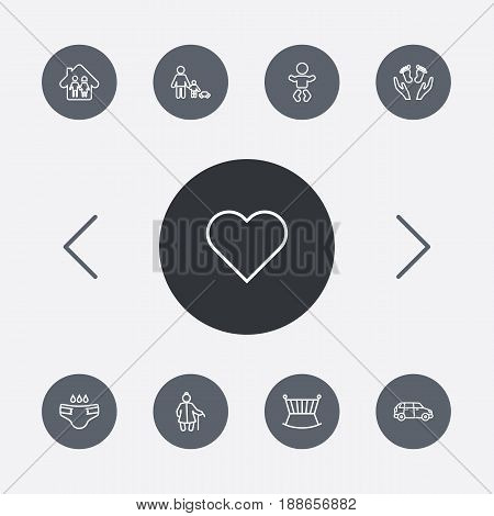 Set Of 9 Family Outline Icons Set.Collection Of Care, Car, Soul And Other Elements.