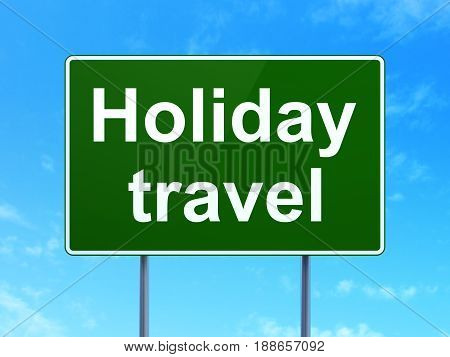 Travel concept: Holiday Travel on green road highway sign, clear blue sky background, 3D rendering