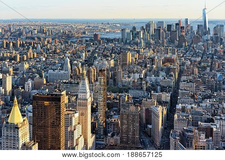 Aerial View On Downtown And Lower Manhattan Nyc