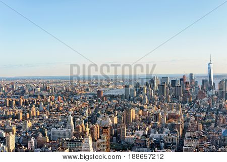 Aerial View Of Skyline In Downtown And Lower Manhattan Nyc