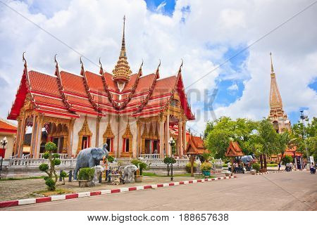 Building in Wat Chalong Temple in Phuket, Thailand